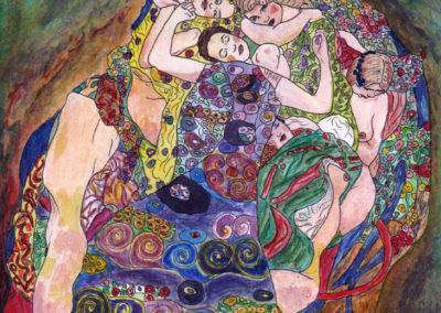 Klimt, Watercolor on Coloring Paper